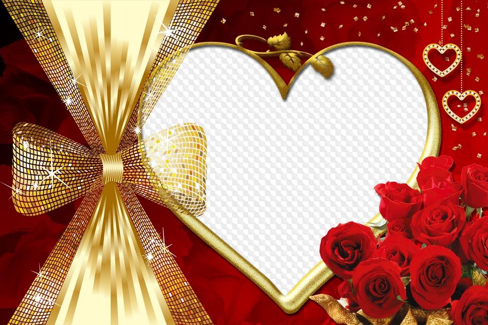 PSD, PNG, Marco de fotos, Corazón de oro, Rosas rojas. Marco PNG ...