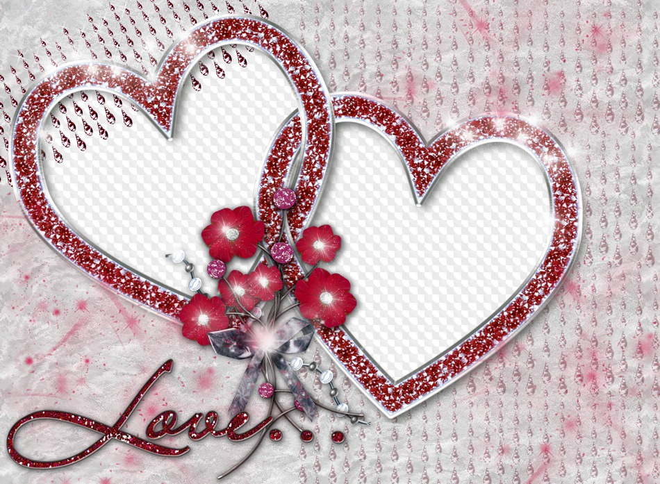 Psd Png Photo Frame Two Hearts Love Transparent Png Frame Psd