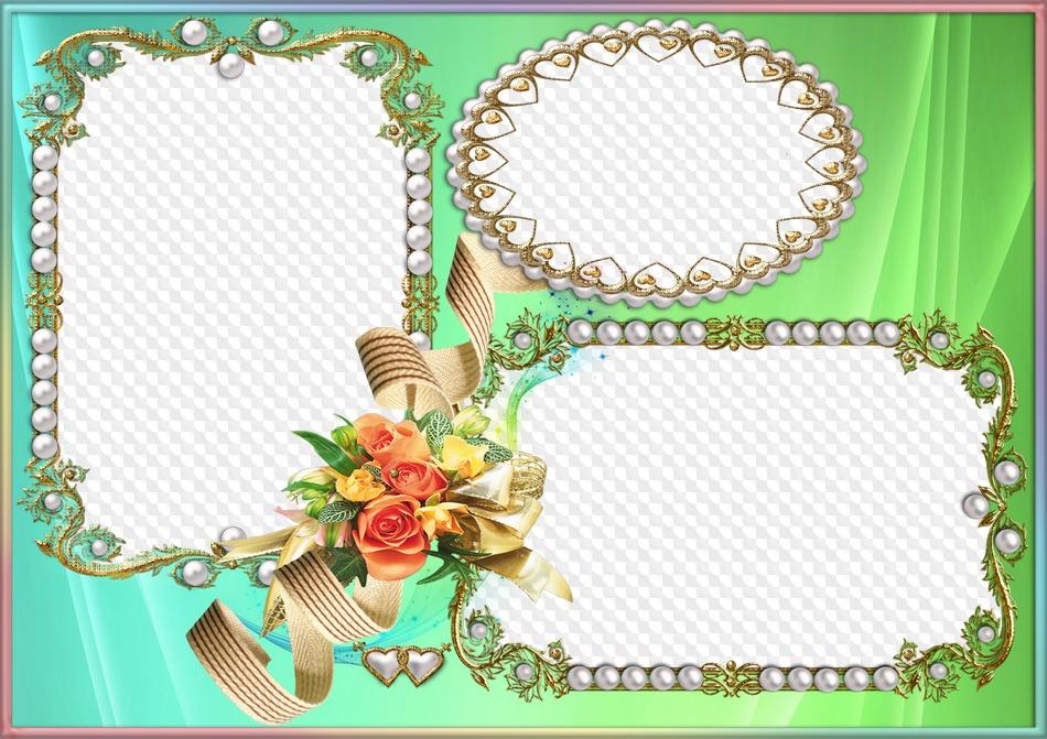 PSD, PNG, perlas en oro con flores, marco de fotos. Marco PNG ...