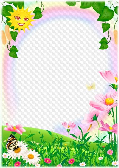 PSD, PNG, marco de fotos, sol de primavera, prado de flores ...