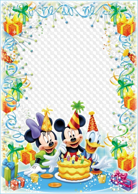 Baby Frame For Photos Birthday With Mickey Mouse Cartoon