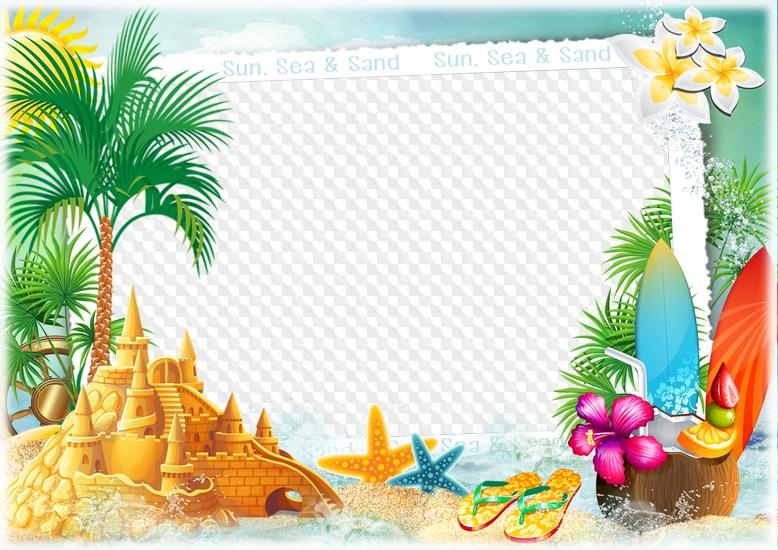 6 PNG, marcos de fotos, sol, mar y arena