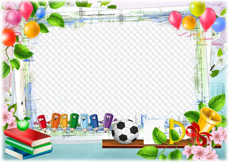 PSD, PNG, plantilla, marco de fotos horizontal, lápices escolares ...