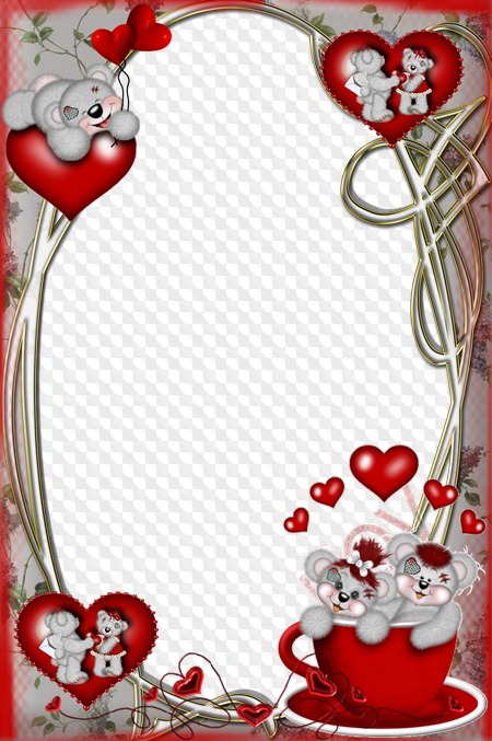 Photo frame for lovers Bears with hearts. Transparent PNG Frame, PSD ...
