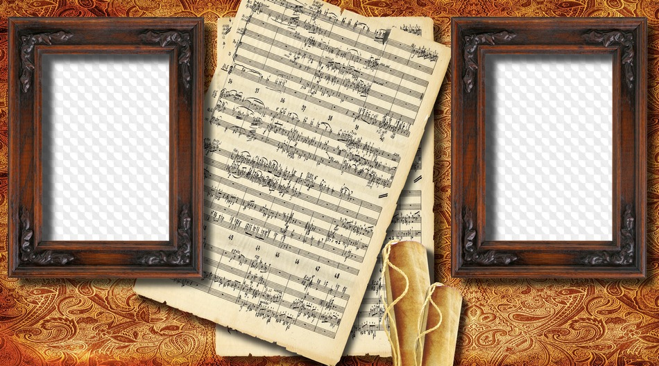 Photo frame musical notes, two photos. Transparent PNG Frame ...