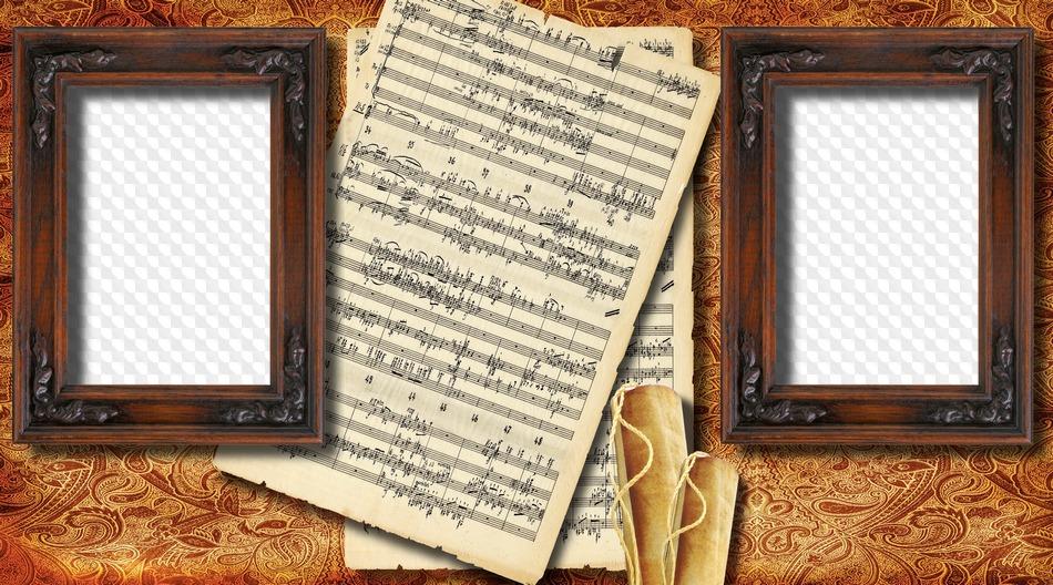 Marco de foto notas musicales, dos fotos. Marco PNG transparente ...