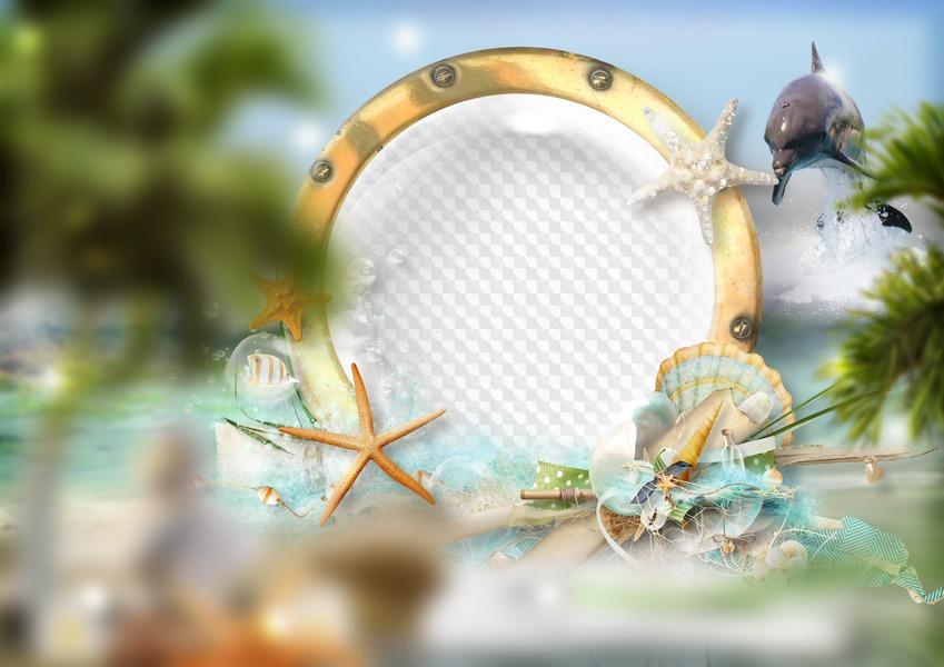 PSD, 2 PNG, mar, marco para foto y marco de desecho. Marco PNG ...