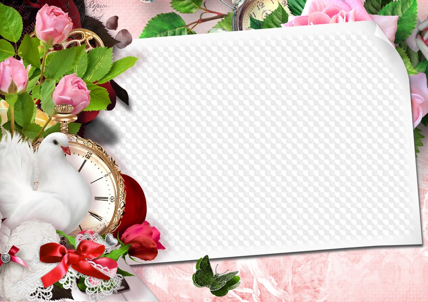 PSD, PNG, Photo frame, White dove, white heart, pink roses, all for ...