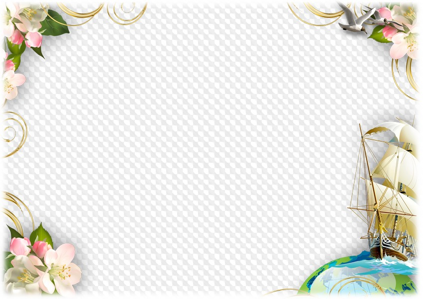 PSD, PNG, Photo frame, Summer, yacht, gulls and flowers. Transparent ...