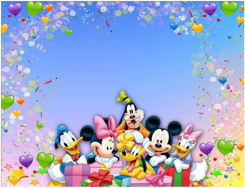 PSD, PNG, Photo frame, Birthday, Mickey Mouse and company ...