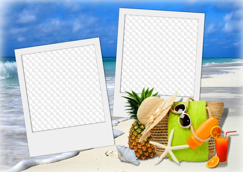 PSD, PNG, Photo frame, Summer, sea, vacation, polaroid photo on the ...