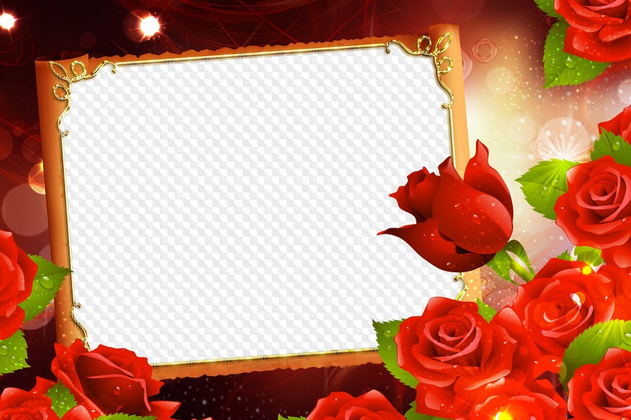 PNG, Photo frame magic roses. Transparent PNG Frame, PSD Layered ...