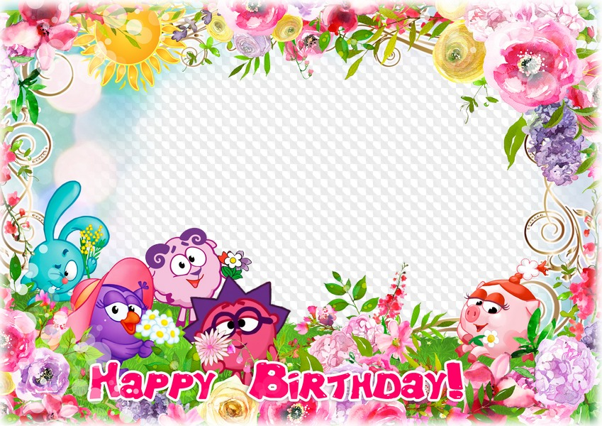 7 PNG, photo frame, Birthday with cartoon characters