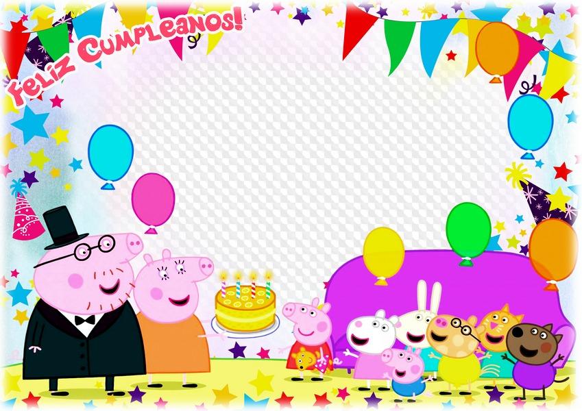 PSD, PNG, marco de fotos horizontal con Peppa Pig, Feliz Cumpleaños ...