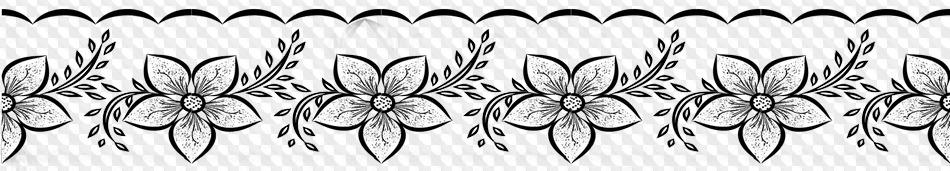 10 Png Borde Con Flores Imagen En Blanco Y Negro Con Fondo