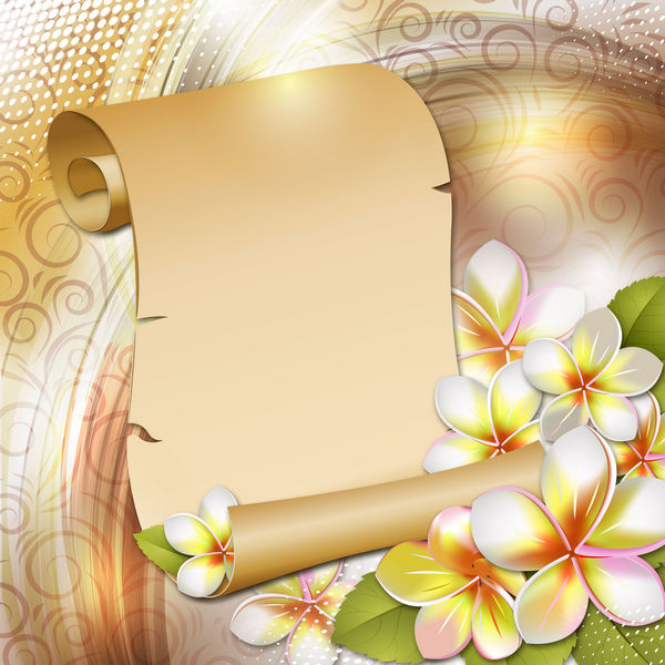Scroll of paper with flowers, background for Photoshop  PSD