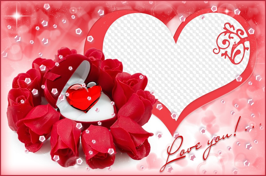 Love Photoshop Frame Psd File With Roses And Cutout For