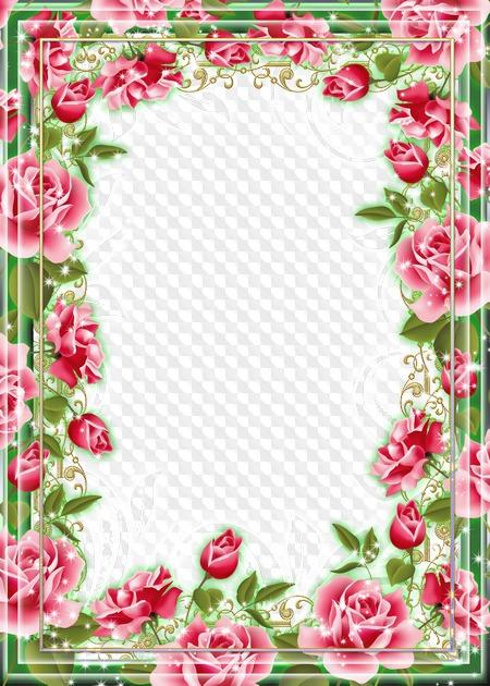 marco de flores para foto rosas de diferentes colores marco png