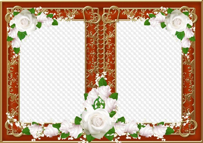 Marcos de boda para 2 fotos con flores blancas - Dos corazones