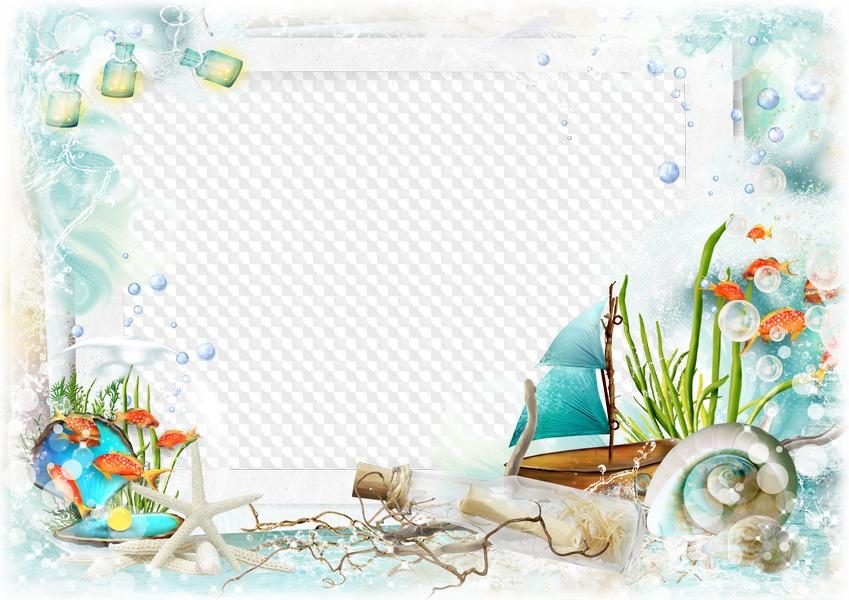 Plantilla PSD con marco de mar, Transparent PNG. Marco PNG ...