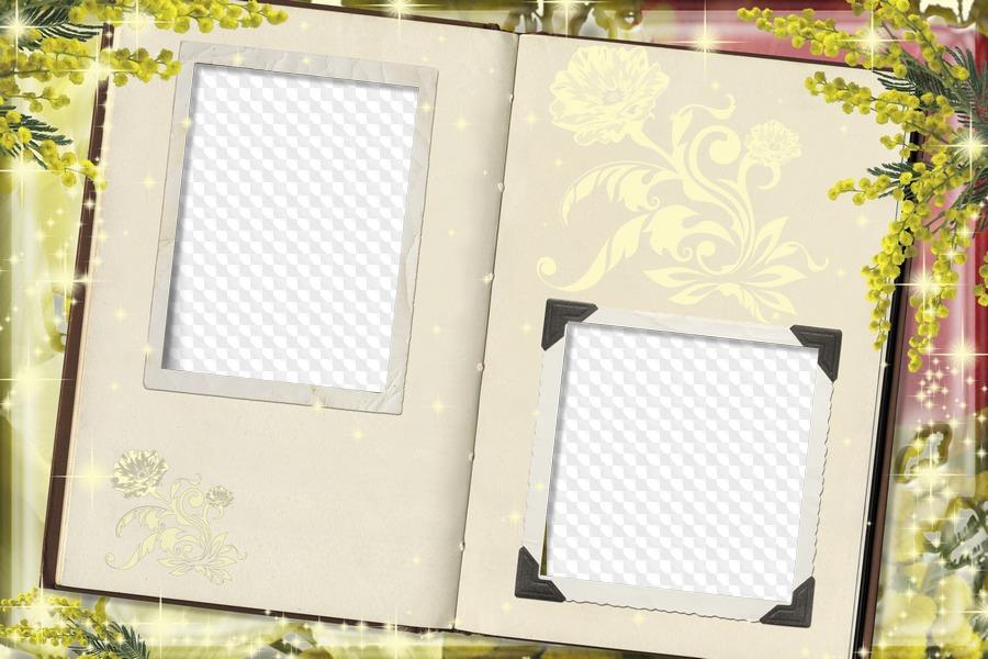 Libro abierto, marco de fotos. Marco PNG transparente, PSD Plantilla ...