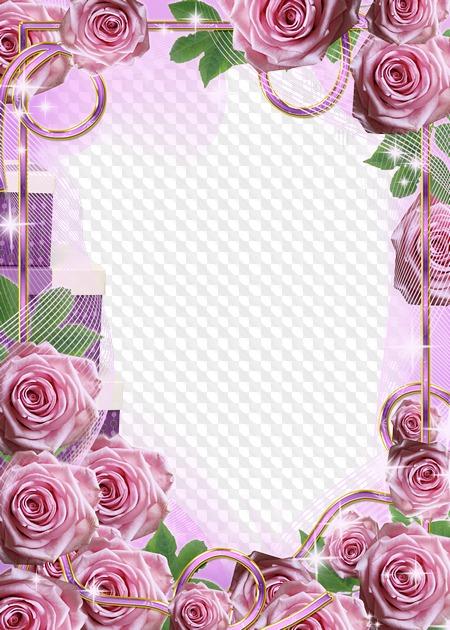 Гармошки, рамка для поздравления с розами