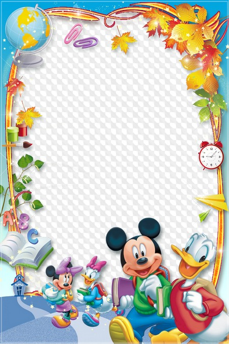 School Frame For Photoshop 1 September Mickey Mouse And Donald
