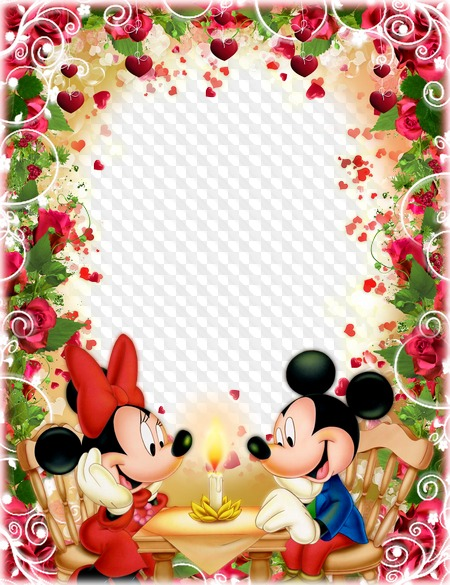 Mickey And Minnie Mouse Love Photo Frame Transparent Png Frame