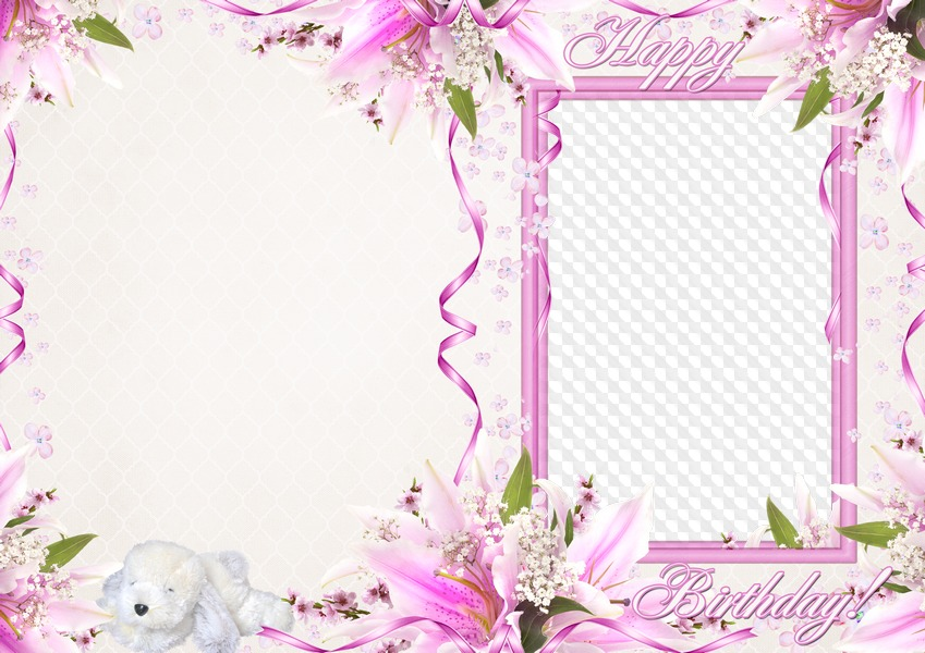 Greeting Card With Photo Frame PSD PNG Template