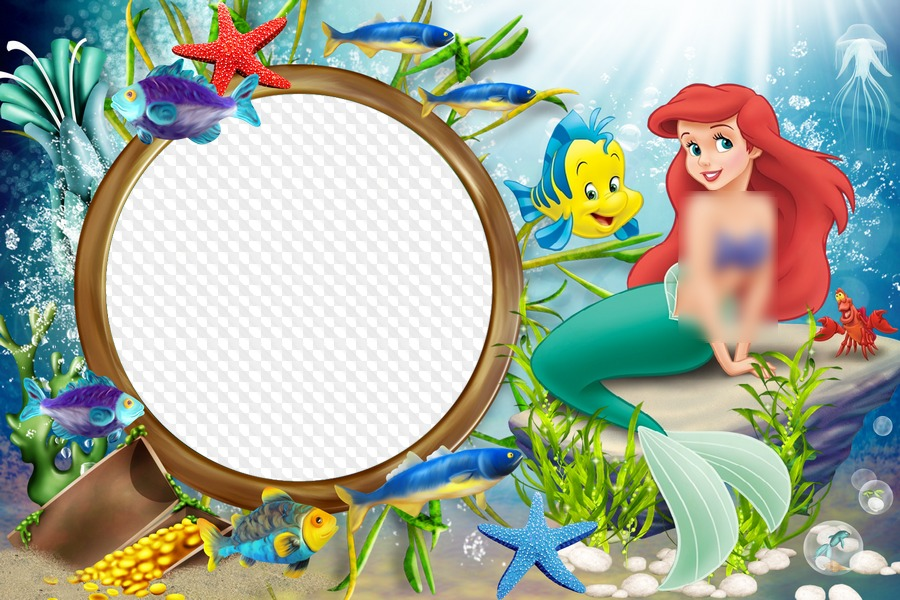 Sea Frame With The Little Mermaid Ariel Beauty Of The Underwater