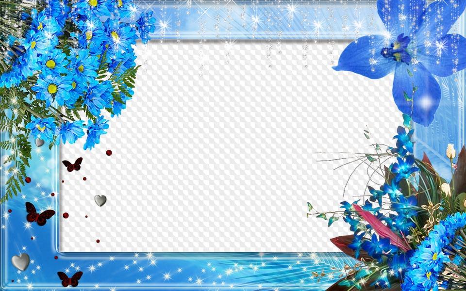 Рамка голубая для открытки