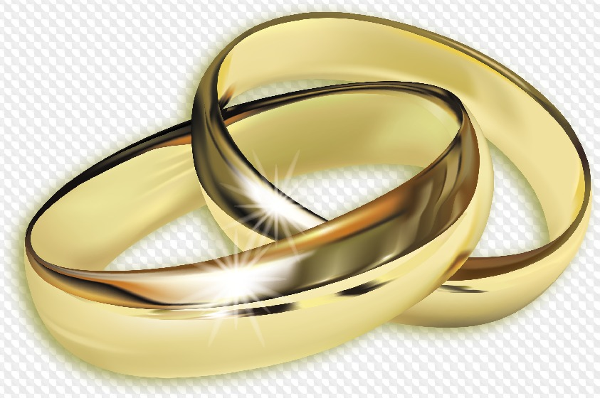 Psd 5 Png Golden Wedding Rings On Transparent Background