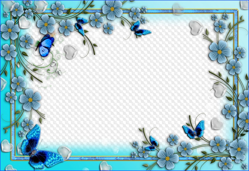 29aeb8e9d2c2 Main › Free photo frames › Nature › - Flower › Flower frame free photoshop  template in blue style with flowers and butterflies free download