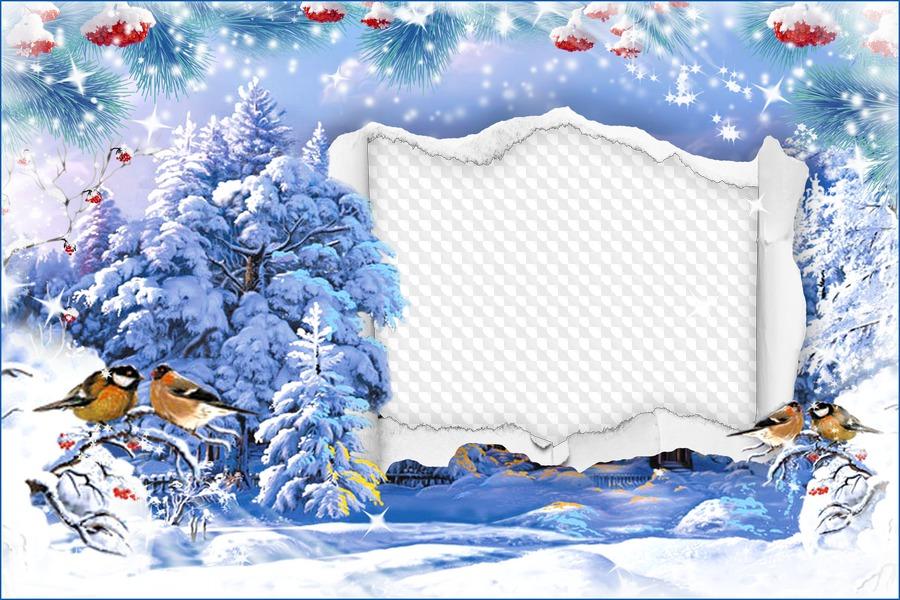Шаблон открытки декабрь, днем