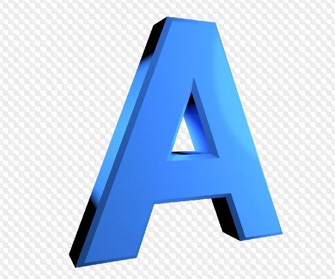 26 PNG, Blue 3D letters on transparent background