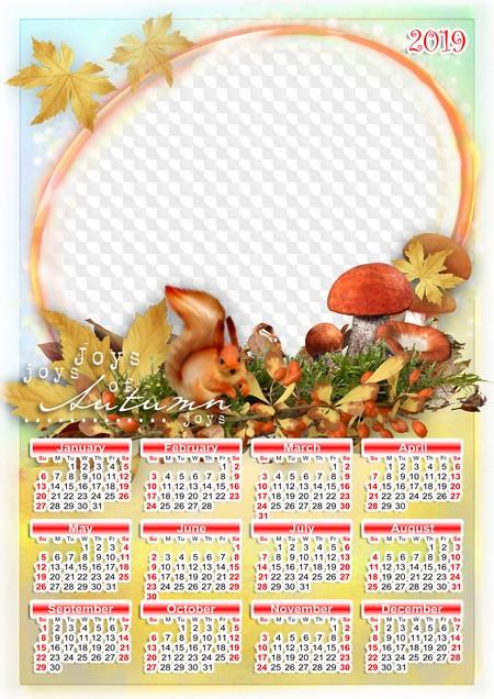 Calendrier 2019 Png.Calendar 2019 Psd Png Joys Of Autumn Calendar For Photoshop