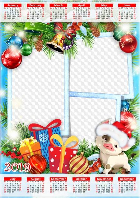 2019 Christmas Calendar 2019 Christmas calendar psd, png. Calendar for Photoshop.