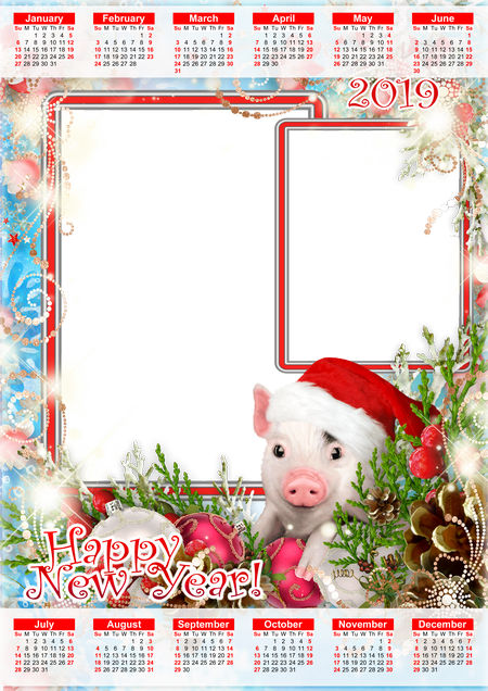 2019 happy new year calendar photo frame