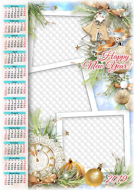 happy new year 2019 calendar psd png