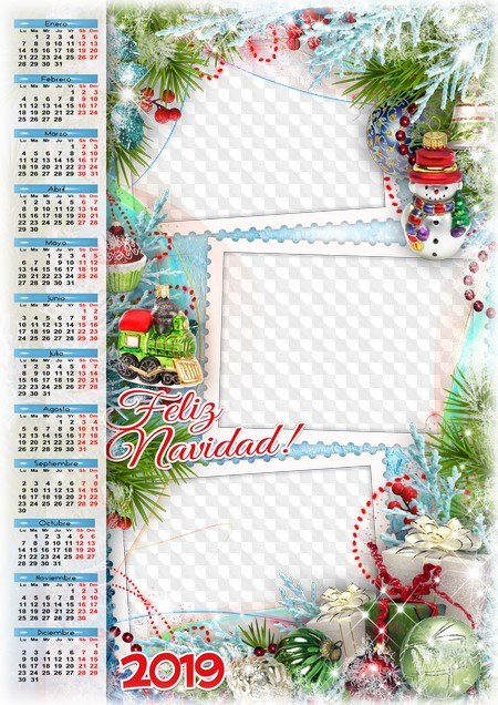 Inicio Feliz Navidad.Feliz Navidad Calendario 2019 Calendario Para Photoshop