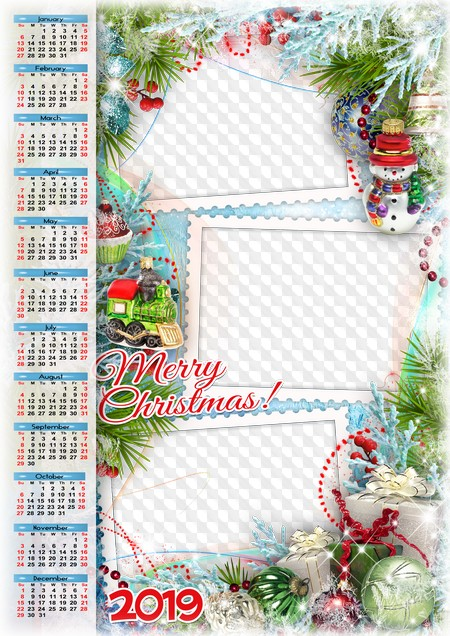 Calendar Christmas 2019 Merry Christmas! Calendar 2019. Calendar for Photoshop.