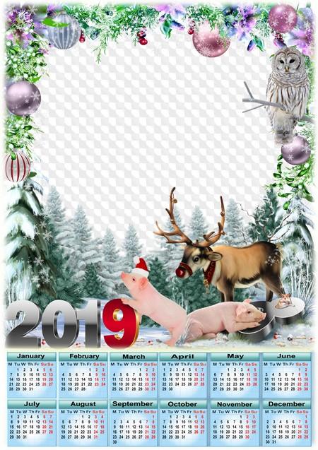Christmas 2019 Calendar.2019 Calendar Merry Christmas Calendar For Photoshop