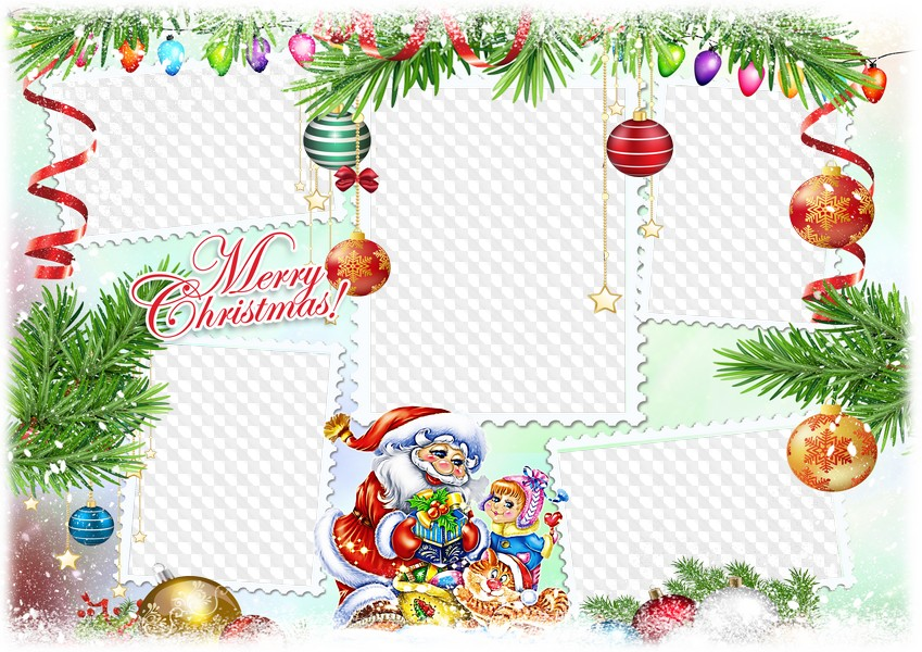 Christmas photo frame collage psd, png. Transparent png frame, psd.
