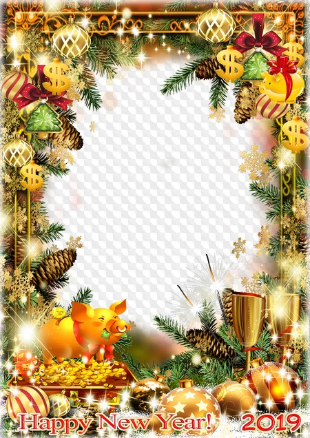 Happy New Year! photo frame 2019, PSD, PNG  Transparent PNG