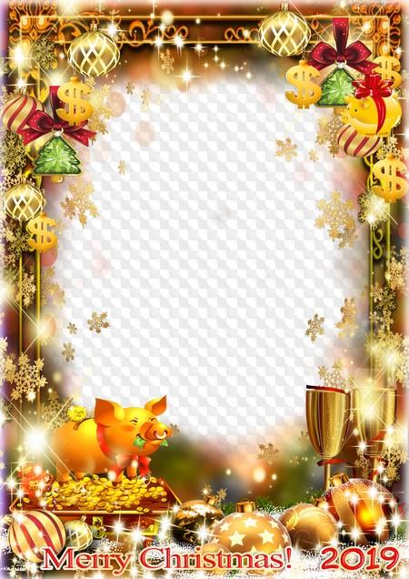 Christmas 2019 Frame Merry Christmas! photo frame 2019, PSD, PNG. Transparent PNG Frame