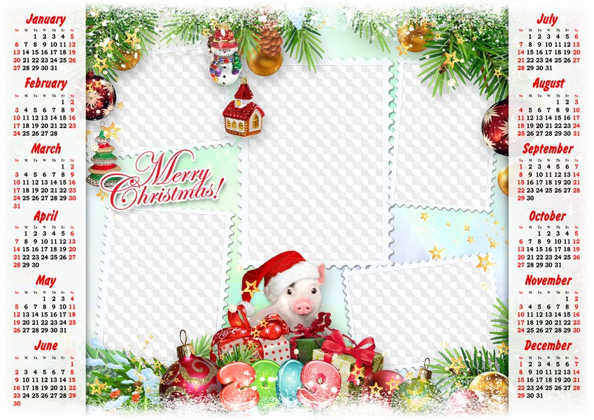 Christmas 2019 Calendar.2019 Christmas Calendar Photo Frame Collage Psd Png