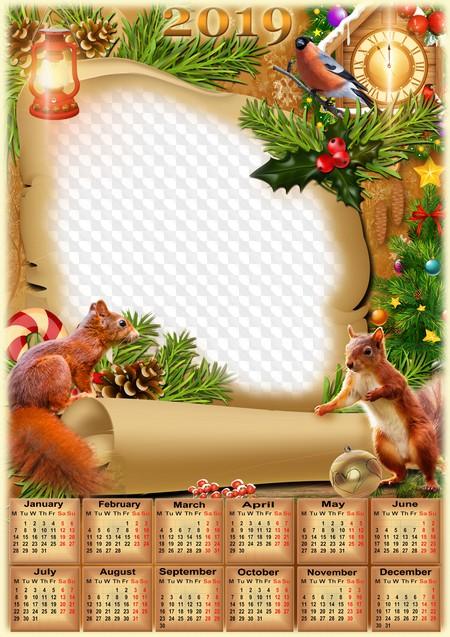 Christmas 2019 Frame Christmas Scroll Calendar frame 2019, PSD, PNG. Calendar for