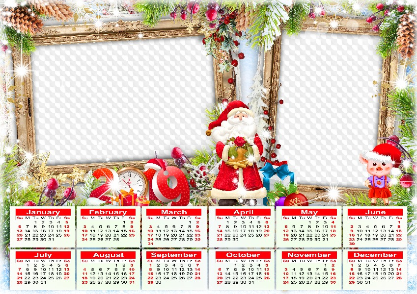 2019 Calendar Frame Santa Claus And New Year Pig Calendar For