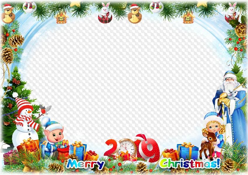 Christmas Frame.2019 Merry Christmas Photo Frame Template Transparent Png