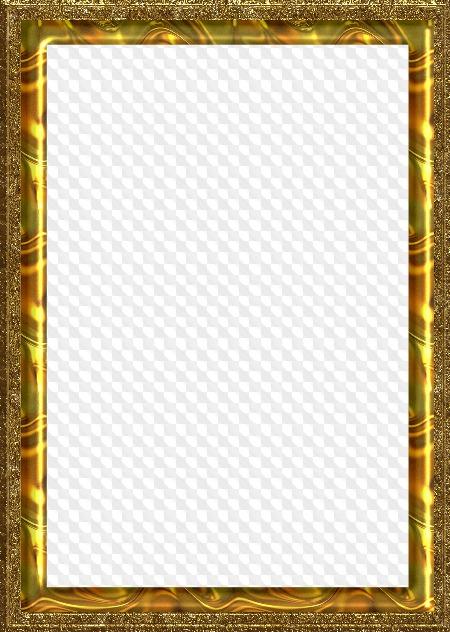 PSD, Six PNG, Gold frames on transparent background